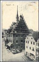 1911 Stempel Pößneck a/ AK Lasten-Pferde-Fuhrwerk Strassen Partie am Rathaus