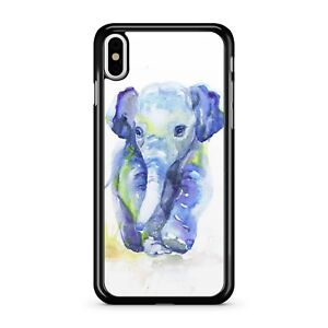 Water Painted Blue Coloured Adorable Cute Baby Elephant 2D Phone Case Cover