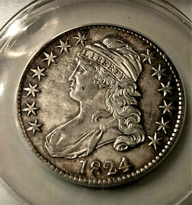 1824 Capped Bust Half Dollar, ANACS  AU-50  DETAILS ++ BEAUTY ***