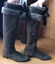 """Miu Miu """"Montone Aviator"""" Tall Sheepskin Lined Boots IT38# UK 5.5"""