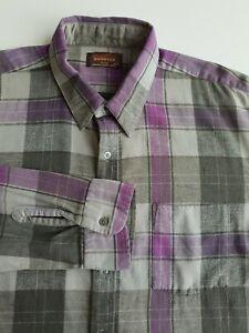 Donovan Lightweight Flannel Plaid Shirt Grey/Purple Check Cotton Grunge *XL*TR67