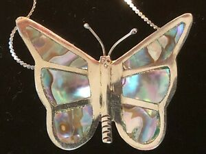 Sterling Silver and Shell Butterfly Pendant Made in Mexico on 18 inch Chain