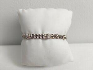 Lagos Caviar 18 kt Gold & 925 Silver 6mm Triple Diamonds Bangle Bracelet