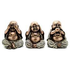 "SET OF 3 SEE HEAR SPEAK NO EVIL HAPPY BUDDHA STATUES 4"" Bronze Resin Lucky Zen"