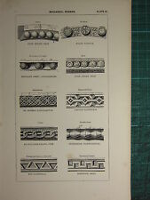 1845 Antico architettura stampa ~ MODANATURE Norman PELLET BORCHIE DIAMOND FRETTE