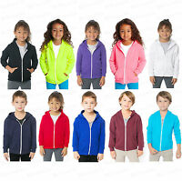 Kids Unisex Girls Boys Plain Hooded Fleece Hoody  Zipper Top Coat Years 2-13