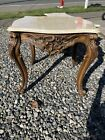 Vintage Italian Victorian Marble Wood Coffee & End Table Ornate Baroque French