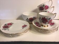 Queen Anne Bone China England 13 Piece Cups, Saucers, Plates, Sugar Red Roses