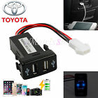 Twin Dual Double Port 2 USB 12-Volt in Car Socket Lighter Charger Adapter for Toyota