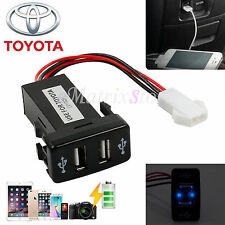 Twin Dual Double Port 2 USB 12V In Car Socket Lighter Charger Adapter For Toyota