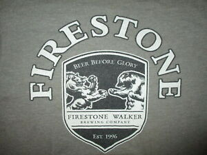 FIRESTONE WALKER BREWING CO T SHIRT Beer Before Glory Craft Brewery Lion Bear SM