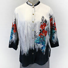 NEW NWT Citron Clothing Plus Size Digital Floral Embossed 100% Silk Blouse 2X