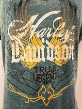 Harley Davidson Para mujeres Mangas Cortas Camisa Jersey Top Tamaño XL  Verde Cuello En V 2623113562c39