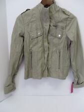 Xhilaration Pleather Short Jacket Zip Front Stretch Sides Sage Grn Jr Sm   #7680