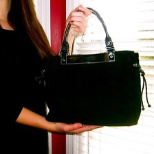 RARE! Kate Spade New York Black Corduroy Leather Trim Satchel LUCIOUS SOFT QUINN