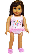 "Doll Clothes 18"" Bathing Suit Pink Unicorn One-piece Clogs Pink Fits AG Dolls"