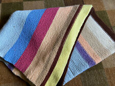 """VTG Afghan Crocheted Tight Knit Blanket Multicolored Striped 36"""" x 70"""" Throw"""