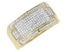 10 Quilates Oro Amarillo Hombre Pavé Redondo Transparente Diamante Moda Meñique