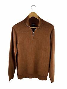 Burton Menswear London Pullover Sweater Mens Size L Brown Long Sleeve Zip Collar