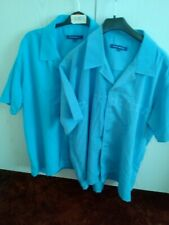 "REDUCED 2 x MENS "" PETROLEUM "" SHORT SLEEVED SHIRTS  LARGE  48"" BLUE & TURQUOISE"