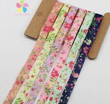 """6yards/lot 3/8"""" 10mm Mixed 6 Colors Printed Grosgrain Ribbon Packing Tape  DIY H"""