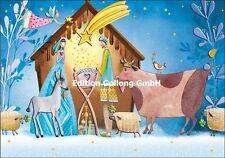 """Mila Marquis""""Krippenszene""""Maria*Josef*Stern*Engel*Grußkarte*Weihnachten*gold"""