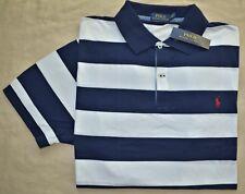 Neu Xlt XL Hoch Polo Ralph Lauren Herren Kurzarm-Poloshirt Top Marineblau Weiß