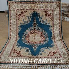 Yilong 5.6'x8.2' Silk Rugs Hand Knotted Hand-made Contemporary Shag Carpets 1846