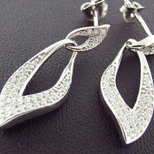 F100 GENUINE REAL 925 DIAMOND SIMULATED STERLING SILVER LADIES STUD DROP EARRING