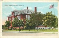Blackwell OK~Little Sign by Central School Line of Trees~Flag Pole~1920~Postcard