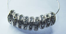 Rhinestone Rondelle Spacer Beads. Silver & Clear. 10mm. Approx. 100 Pieces