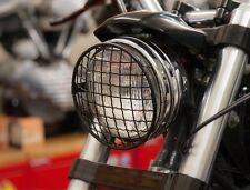 "Griglia Faro Nera Moto 5-3/4"" Headlight Scrambler Cafe Racer Sportster 883 1200"