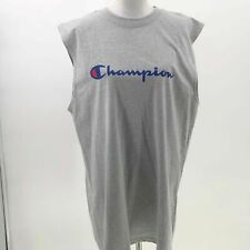 Champion spell out logo tank top mens Mt muscle Tee sleeveless grey Nwot