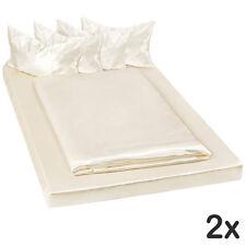 2x Parure lit 100% satin polyester housse de couette 200x150 taie oreiller crème