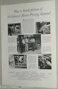 1929 GENERAL MOTORS advertisement, automobile testing, proving ground