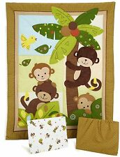 Bedtime Originals Curly Tails Crib Set Baby Nursery Monkey 3 Piece Comforter New