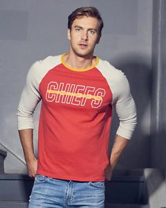Mens Junk Food NFL Kansas City Chiefs Vintage Contrast Raglan Shirt New XS-XXL