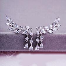 Women Fashion Punk Rock Crystal Rhinestone Leaf Tassel Ear Stud Earrings Gift