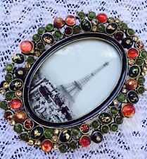 "Two's Company Oval Jeweled Lucite Stone Picture Mini Frame  2"" x 3"""