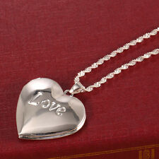 925 Silver Love Heart Open Pendant Necklace Chain Jewelry Women Fashion Wedding