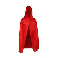 UK Velvet Cape Little Red Riding Hood Girls Fancy Dress Kids Halloween Costume