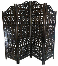 Hand Carved Indian 4 Panel Wood Screen/divider Gamla Design Dark Brown