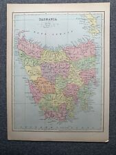 1874 TASMANIA LARGE COLOURED MAP BY JOHN BARTHOLOMEW