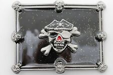 Square Skull Skeleton Black Pirate Bones Men Women Silver Metal Belt Buckle Big
