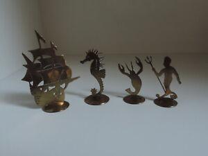 Tischkartenhalter,Figuren,Metall,Messing,Hummer,Seepferdchen,Wassermann,Schiff
