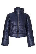 Womens Wet Look Crop Padded Bubble Puffer Short Bomber Warm Winter Jacket Coats