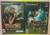 3 Game Lot PS2 Playstation 2 Primal + Turok Evolution Games Complete Bundle