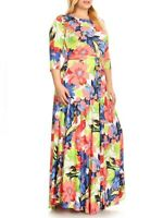 Plus Size Boho Gypsy Floral Print Fit Flare Belted Maxi Dress 2X 2XL