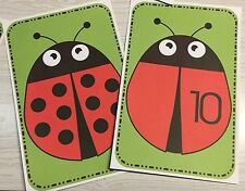 22 cards - Ladybug Count & Match Cards - Pre school Kindergarten Math -Laminated