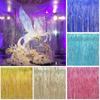 1x2M Shiny Metallic Fringe Foil Tinsel Curtain Wedding Door Party Home Decor .